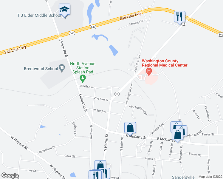 map of restaurants, bars, coffee shops, grocery stores, and more near 501 Sparta Road in Sandersville