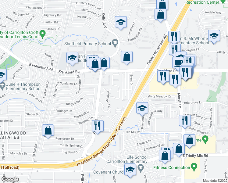 map of restaurants, bars, coffee shops, grocery stores, and more near 3007 Renaissance Drive in Dallas