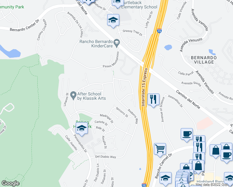 map of restaurants, bars, coffee shops, grocery stores, and more near 15495 Andorra Way in San Diego