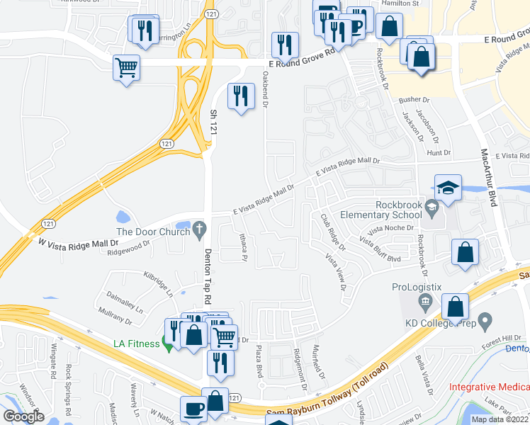map of restaurants, bars, coffee shops, grocery stores, and more near 160 East Vista Ridge Mall Drive in Lewisville