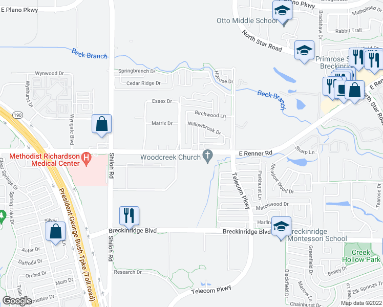 map of restaurants, bars, coffee shops, grocery stores, and more near 3198 East Renner Road in Richardson