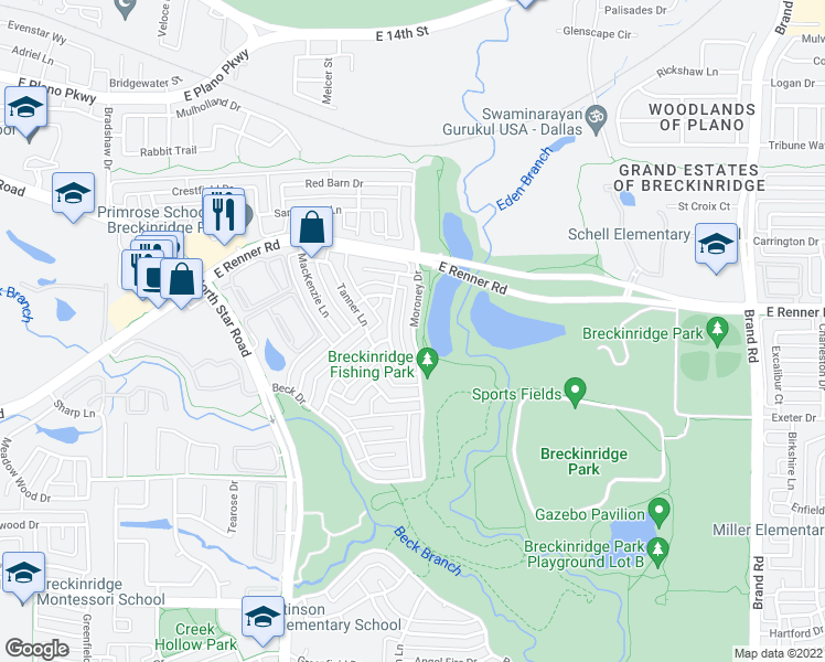 map of restaurants, bars, coffee shops, grocery stores, and more near Moroney Drive in Richardson