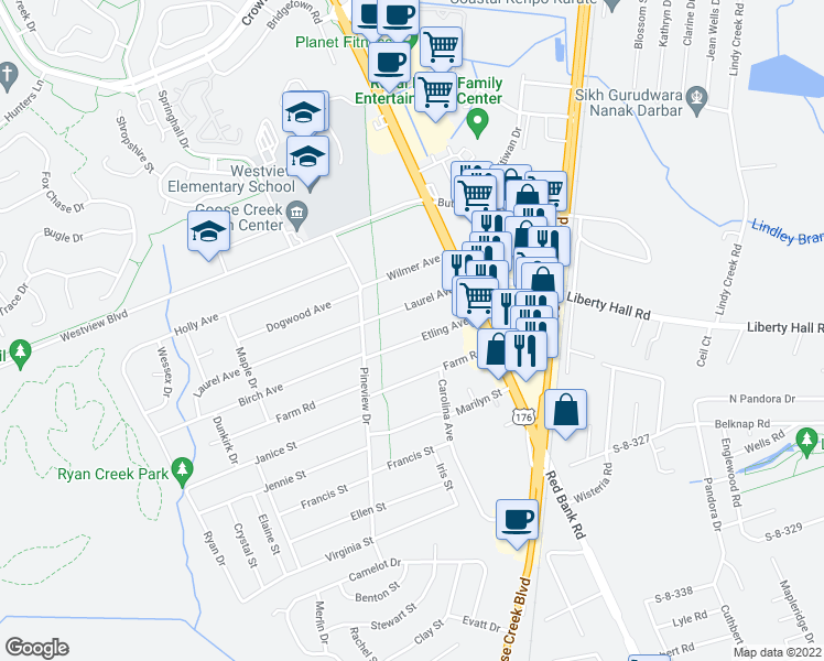 map of restaurants, bars, coffee shops, grocery stores, and more near 112 Etling Avenue in Goose Creek