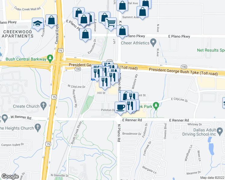 map of restaurants, bars, coffee shops, grocery stores, and more near 1250 Hunt Street in Richardson