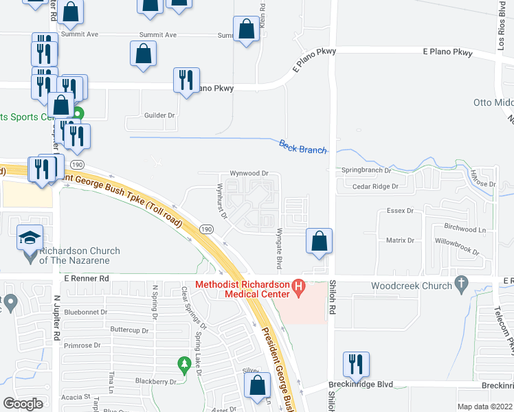 map of restaurants, bars, coffee shops, grocery stores, and more near 380 Vistacourt Drive in Plano