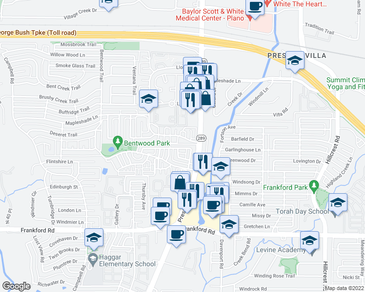 map of restaurants, bars, coffee shops, grocery stores, and more near 6235 Cupertino Trail in Dallas