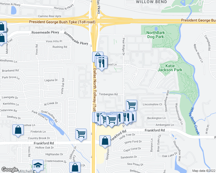 map of restaurants, bars, coffee shops, grocery stores, and more near 4607 Timberglen Road in Dallas