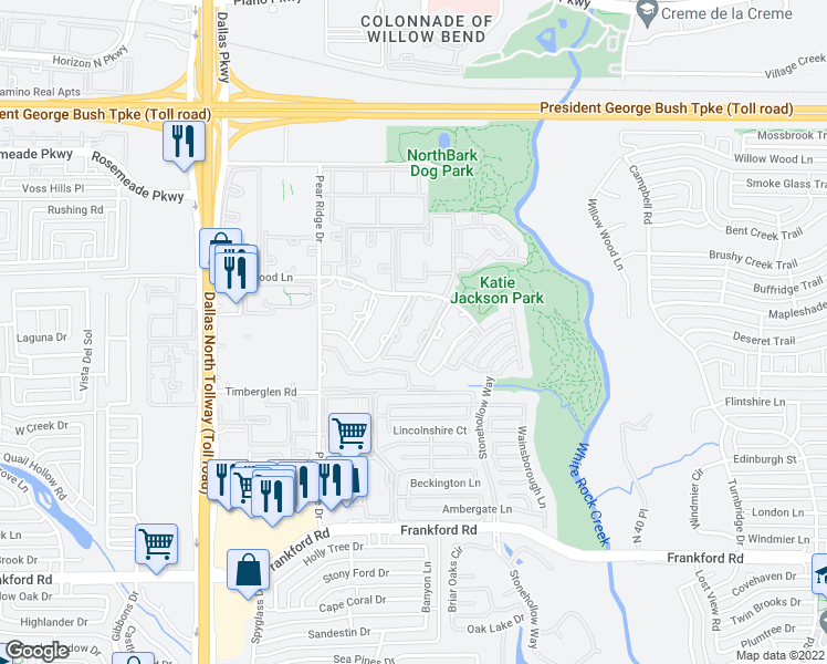 map of restaurants, bars, coffee shops, grocery stores, and more near 4912 Haverwood Lane in Dallas