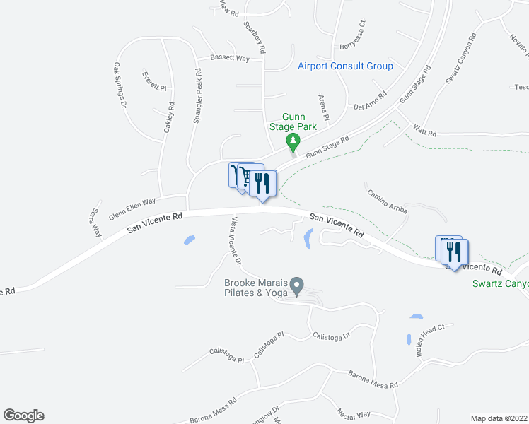 map of restaurants, bars, coffee shops, grocery stores, and more near 24157 San Vicente Rd in San Diego Country Estates
