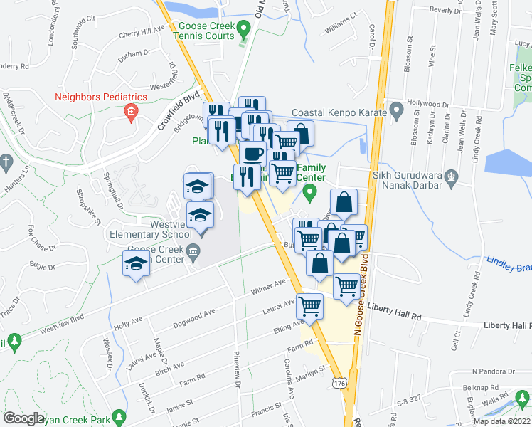 map of restaurants, bars, coffee shops, grocery stores, and more near 202 Saint James Avenue in Goose Creek