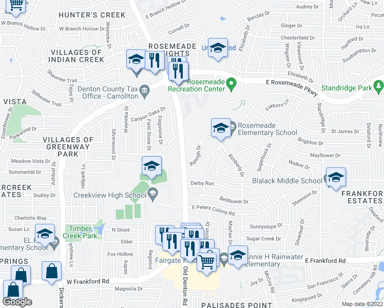 map of restaurants, bars, coffee shops, grocery stores, and more near 1020 Raleigh Drive in Carrollton