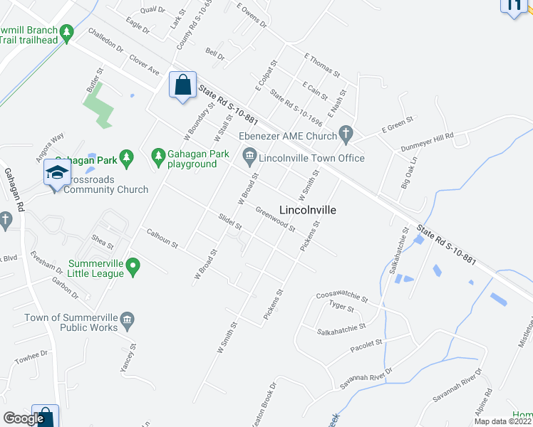 map of restaurants, bars, coffee shops, grocery stores, and more near Greenwood Street in Summerville