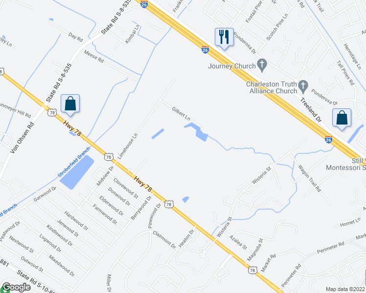 map of restaurants, bars, coffee shops, grocery stores, and more near 3487 County Road S-10-76 in Ladson