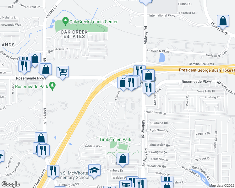 map of restaurants, bars, coffee shops, grocery stores, and more near 3800-3866 Rosemeade Parkway in Dallas