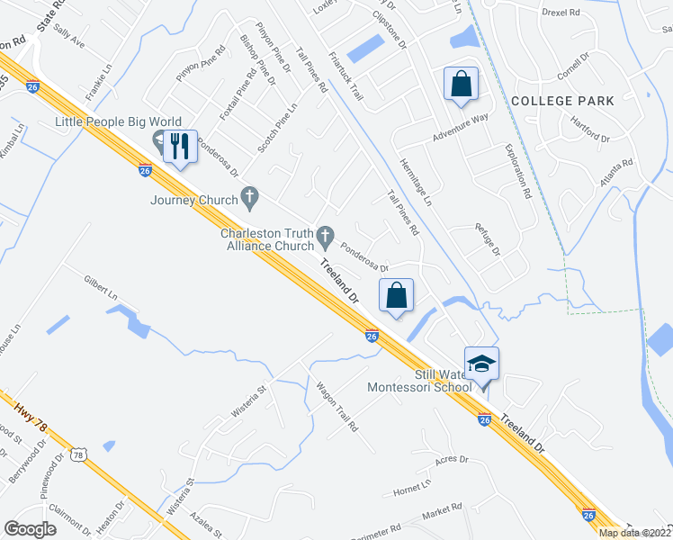 map of restaurants, bars, coffee shops, grocery stores, and more near 113 Growden Lane in Ladson