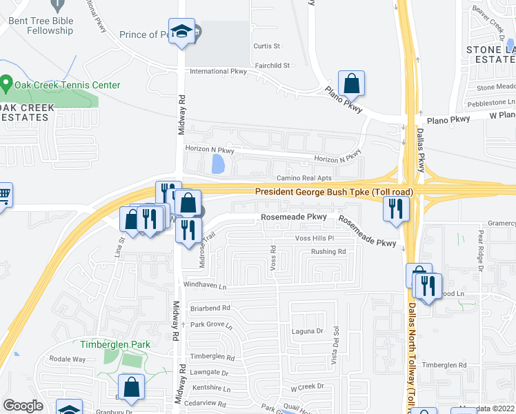 map of restaurants, bars, coffee shops, grocery stores, and more near 4141 Rosemeade Parkway in Dallas