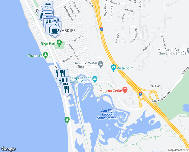 map of restaurants, bars, coffee shops, grocery stores, and more near 2599 Montgomery Avenue in Encinitas