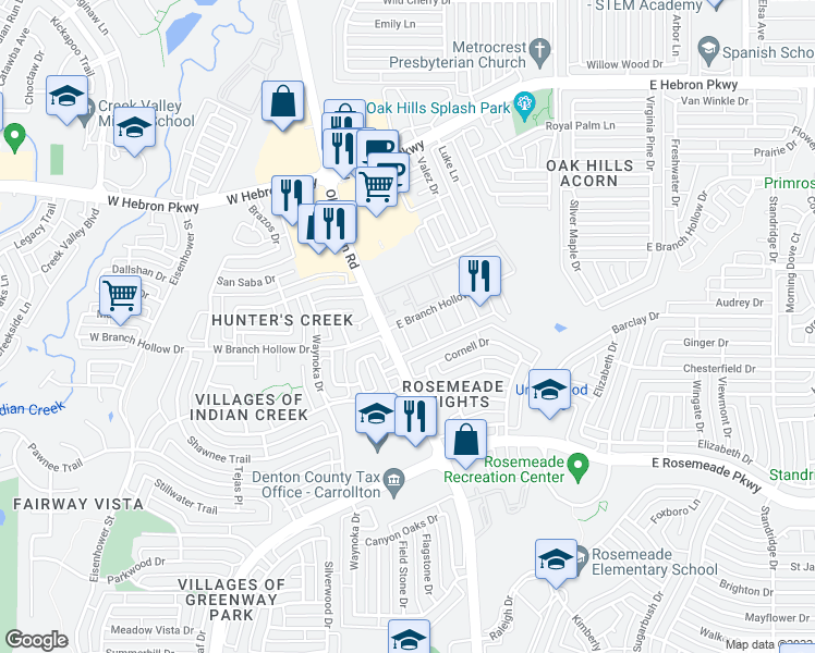 map of restaurants, bars, coffee shops, grocery stores, and more near 3830 Old Denton Road in Carrollton