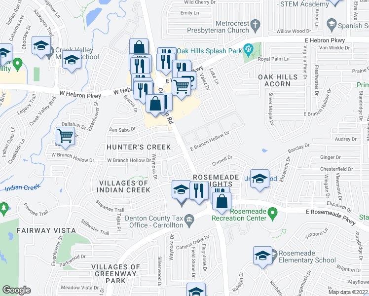 map of restaurants, bars, coffee shops, grocery stores, and more near Indian Creek Apartment in Carrollton