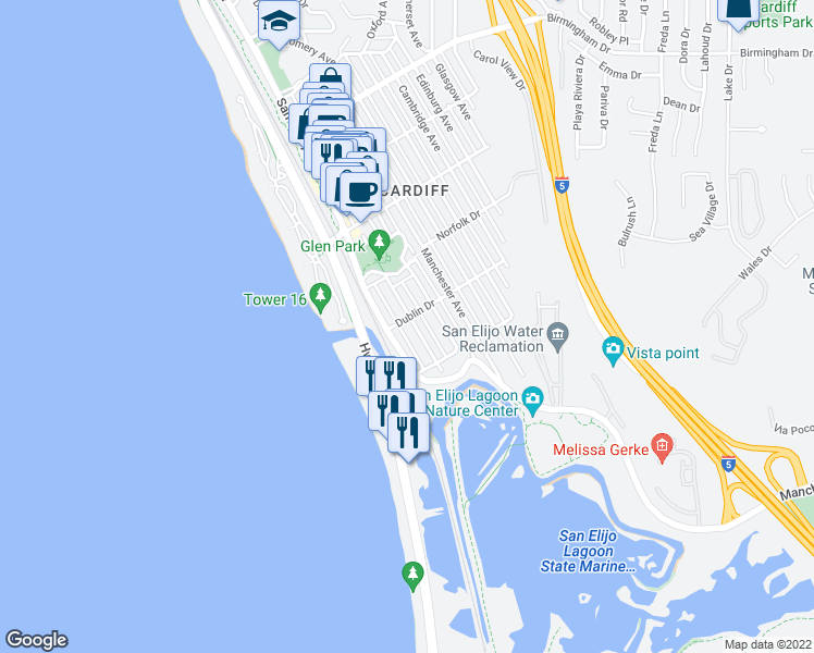 map of restaurants, bars, coffee shops, grocery stores, and more near 2414 Newport Avenue in Encinitas