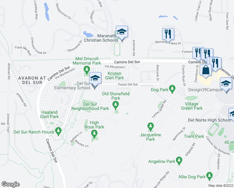 map of restaurants, bars, coffee shops, grocery stores, and more near 15851 Monte Alto Terrace in San Diego