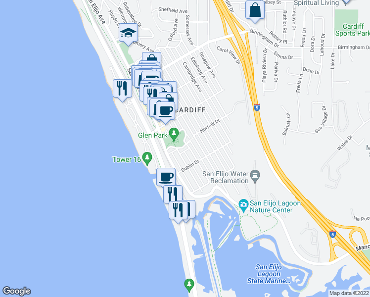 map of restaurants, bars, coffee shops, grocery stores, and more near 175 Norfolk Drive in Encinitas