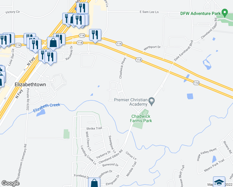 map of restaurants, bars, coffee shops, grocery stores, and more near 13900 Chadwick Parkway in Northlake
