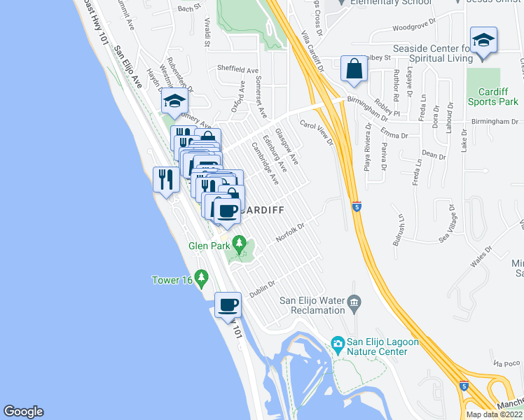 map of restaurants, bars, coffee shops, grocery stores, and more near in Encinitas