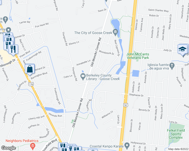 map of restaurants, bars, coffee shops, grocery stores, and more near 217 Ibis Lane in Goose Creek
