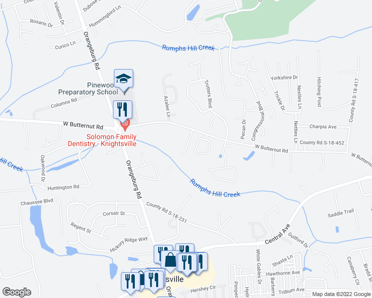 map of restaurants, bars, coffee shops, grocery stores, and more near Sago Palm Court in Summerville