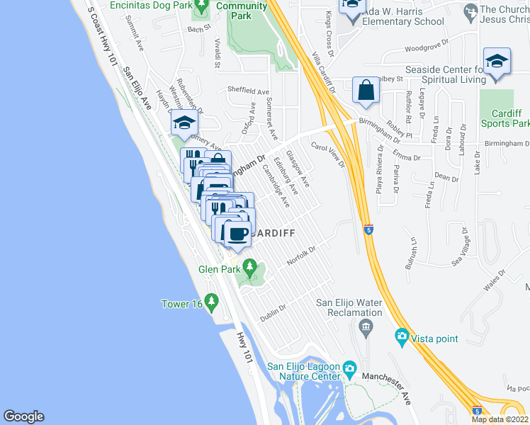 map of restaurants, bars, coffee shops, grocery stores, and more near 2135 Montgomery Avenue in Encinitas