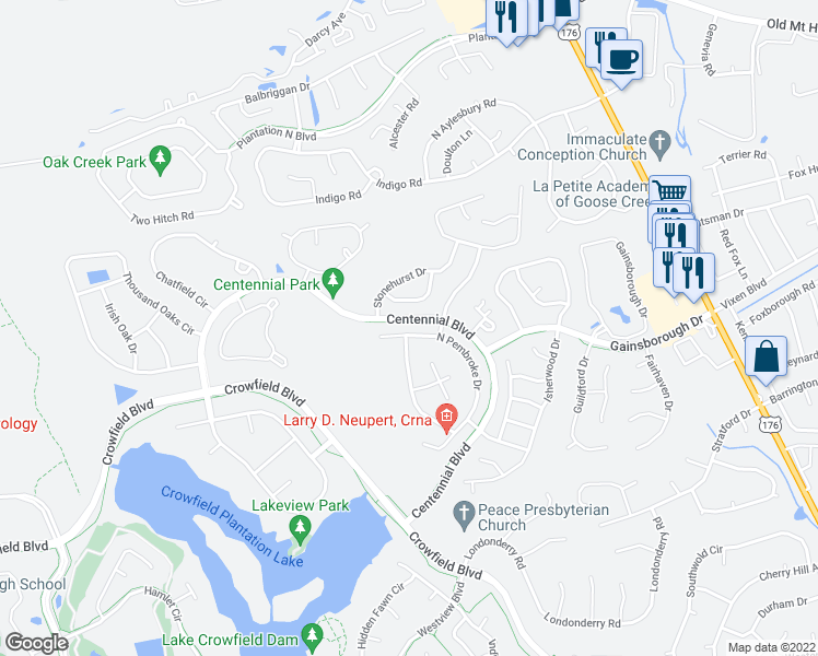 map of restaurants, bars, coffee shops, grocery stores, and more near 208 North Pembroke Drive in Goose Creek