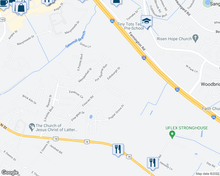 map of restaurants, bars, coffee shops, grocery stores, and more near 3102 Poplar Grove Place in Summerville