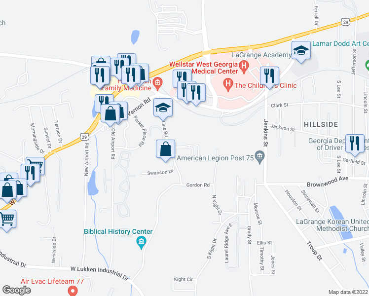 map of restaurants, bars, coffee shops, grocery stores, and more near 80 North Kight Drive in LaGrange