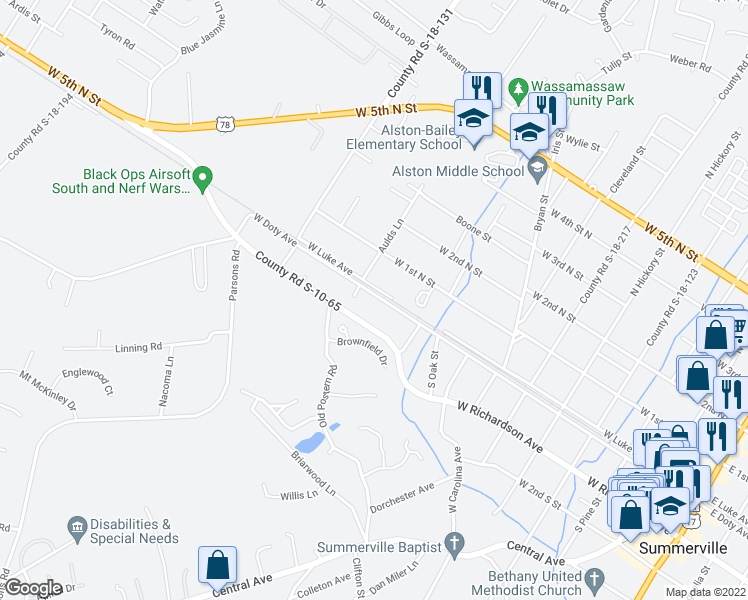 map of restaurants, bars, coffee shops, grocery stores, and more near 908 West Doty Avenue in Summerville