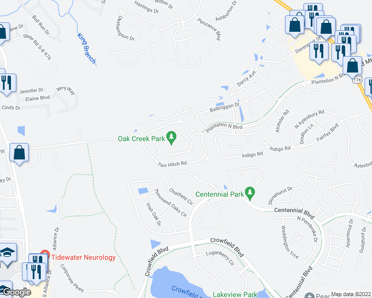 map of restaurants, bars, coffee shops, grocery stores, and more near 223 Persimmon Circle in Goose Creek
