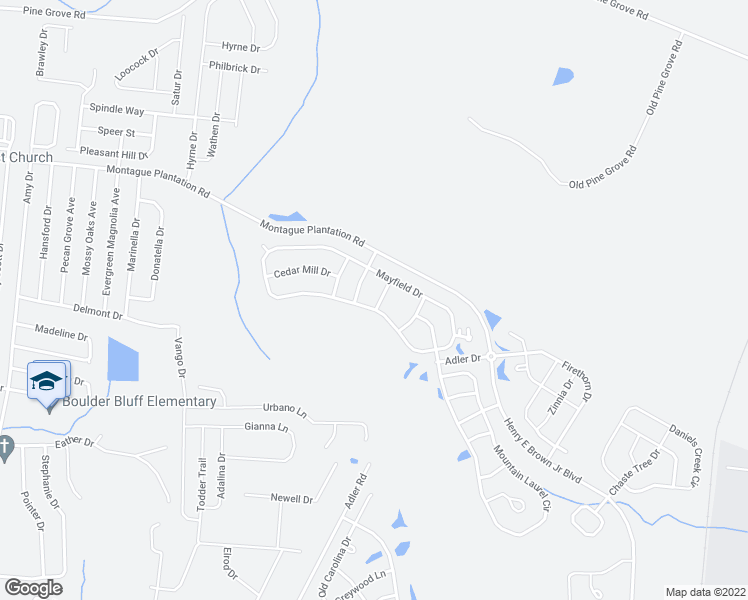 map of restaurants, bars, coffee shops, grocery stores, and more near 411 Pine Hill Lane in Goose Creek