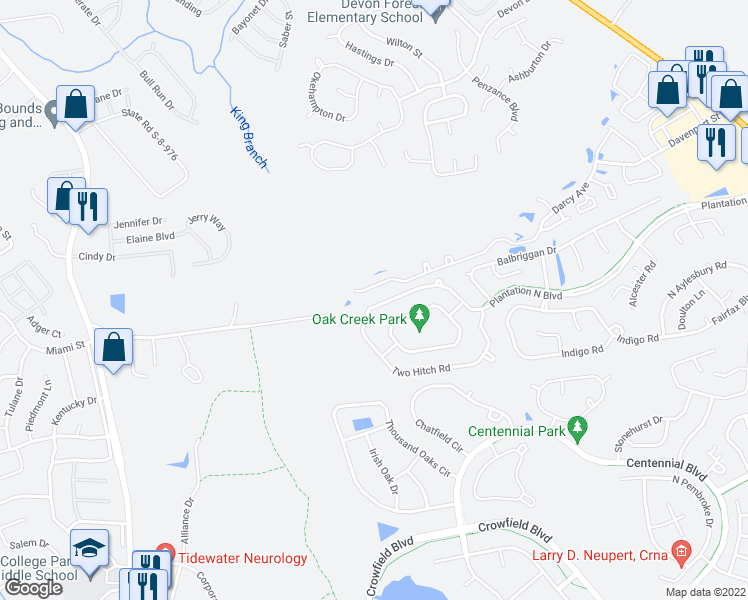 map of restaurants, bars, coffee shops, grocery stores, and more near 150 Two Hitch Road in Goose Creek