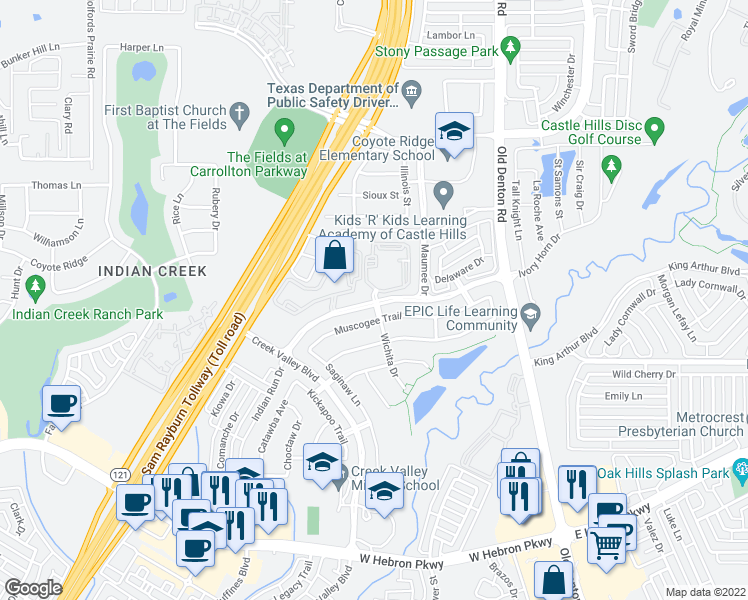 map of restaurants, bars, coffee shops, grocery stores, and more near 1001-1099 Muscogee Trail in Carrollton