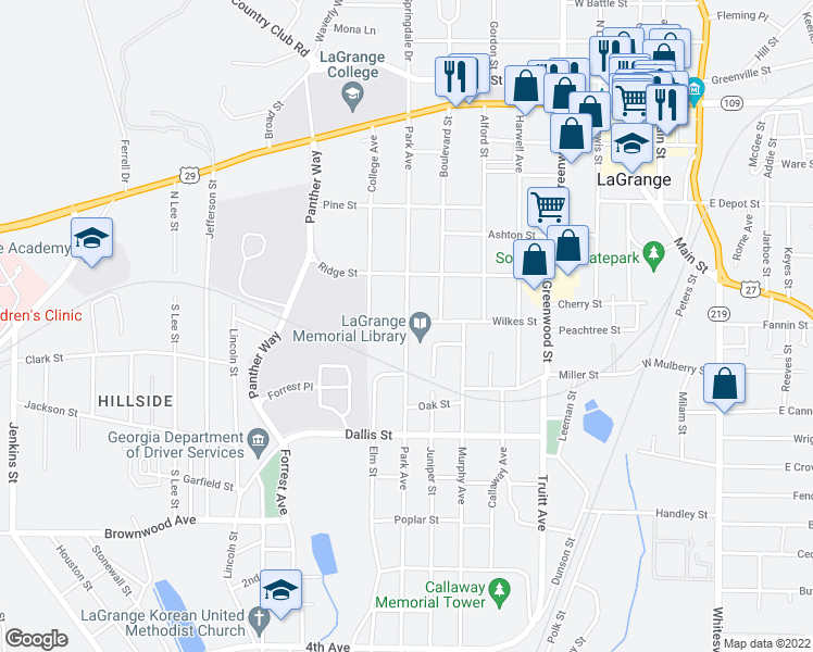 map of restaurants, bars, coffee shops, grocery stores, and more near 400-498 Wilkes Street in LaGrange