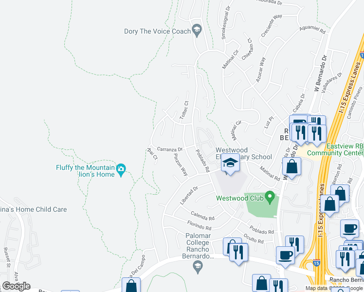 map of restaurants, bars, coffee shops, grocery stores, and more near 17348 Carranza Drive in San Diego