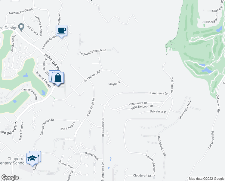 map of restaurants, bars, coffee shops, grocery stores, and more near 17660 Saint Andrews Drive in Poway