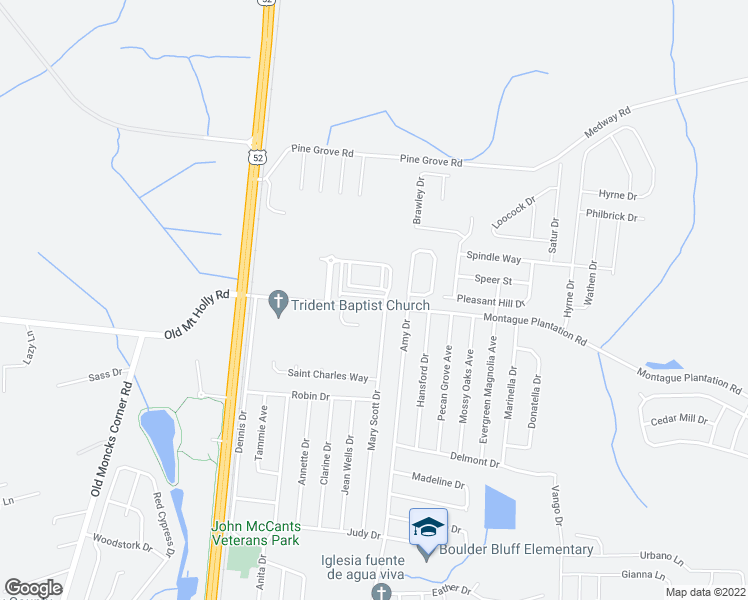 map of restaurants, bars, coffee shops, grocery stores, and more near 411 Viceroy Lane in Goose Creek