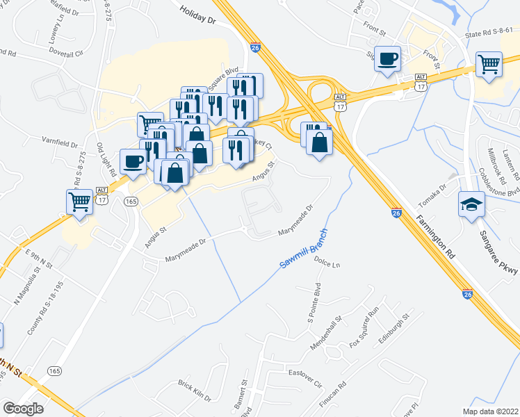 map of restaurants, bars, coffee shops, grocery stores, and more near 325 Marymeade Drive in Summerville