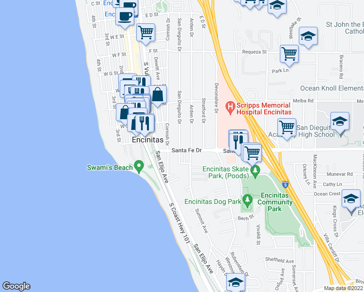 map of restaurants, bars, coffee shops, grocery stores, and more near 1255 San Dieguito Drive in Encinitas