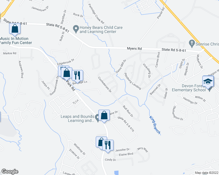 map of restaurants, bars, coffee shops, grocery stores, and more near 112 Confederate Drive in Summerville