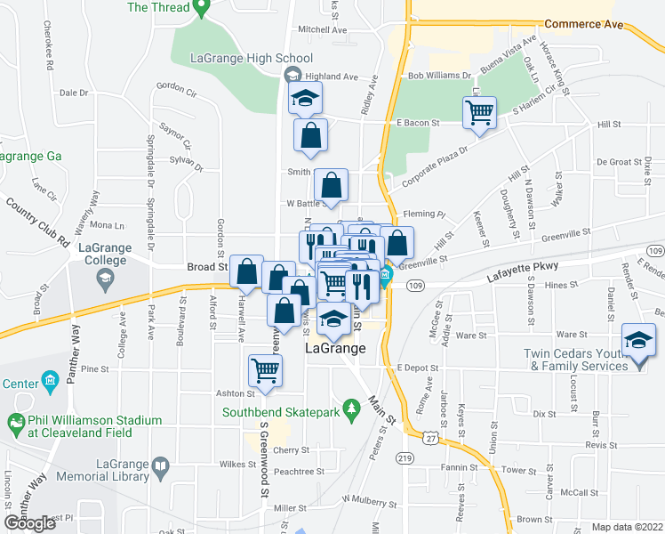 map of restaurants, bars, coffee shops, grocery stores, and more near West Lafayette Square in LaGrange