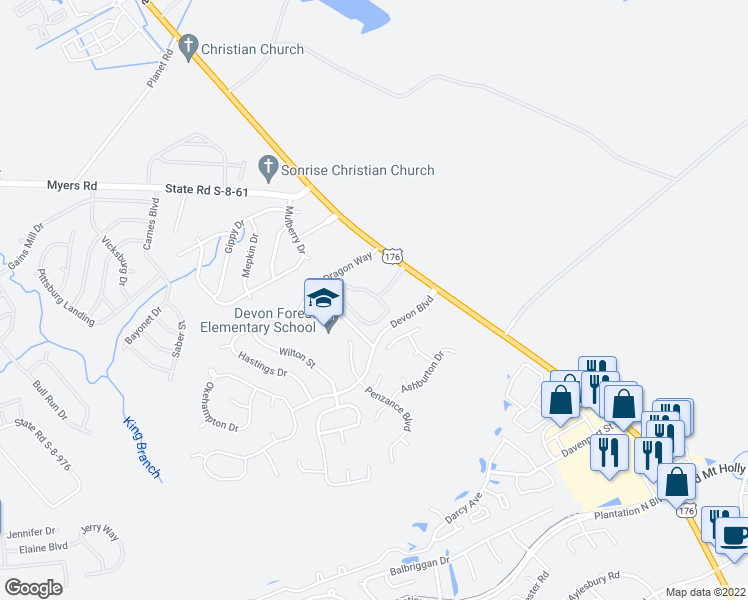 map of restaurants, bars, coffee shops, grocery stores, and more near 1601 Snow Goose Circle in Goose Creek