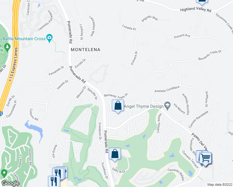 map of restaurants, bars, coffee shops, grocery stores, and more near 18380 Bernardo Trails Drive in San Diego