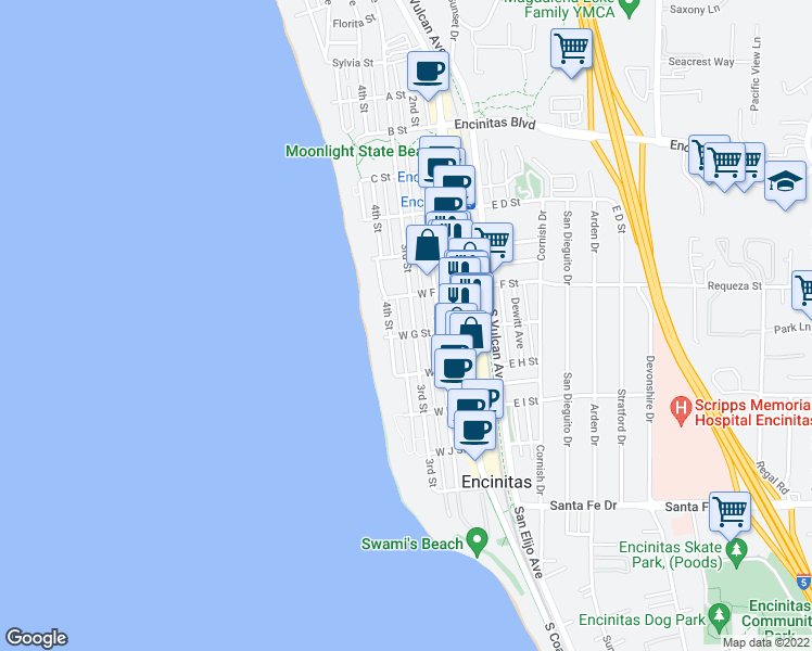 map of restaurants, bars, coffee shops, grocery stores, and more near 752 3rd Street in Encinitas